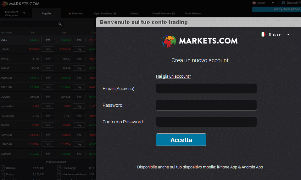 apertura conto marketscom