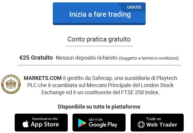 bonus 25€ senza deposito markets.com