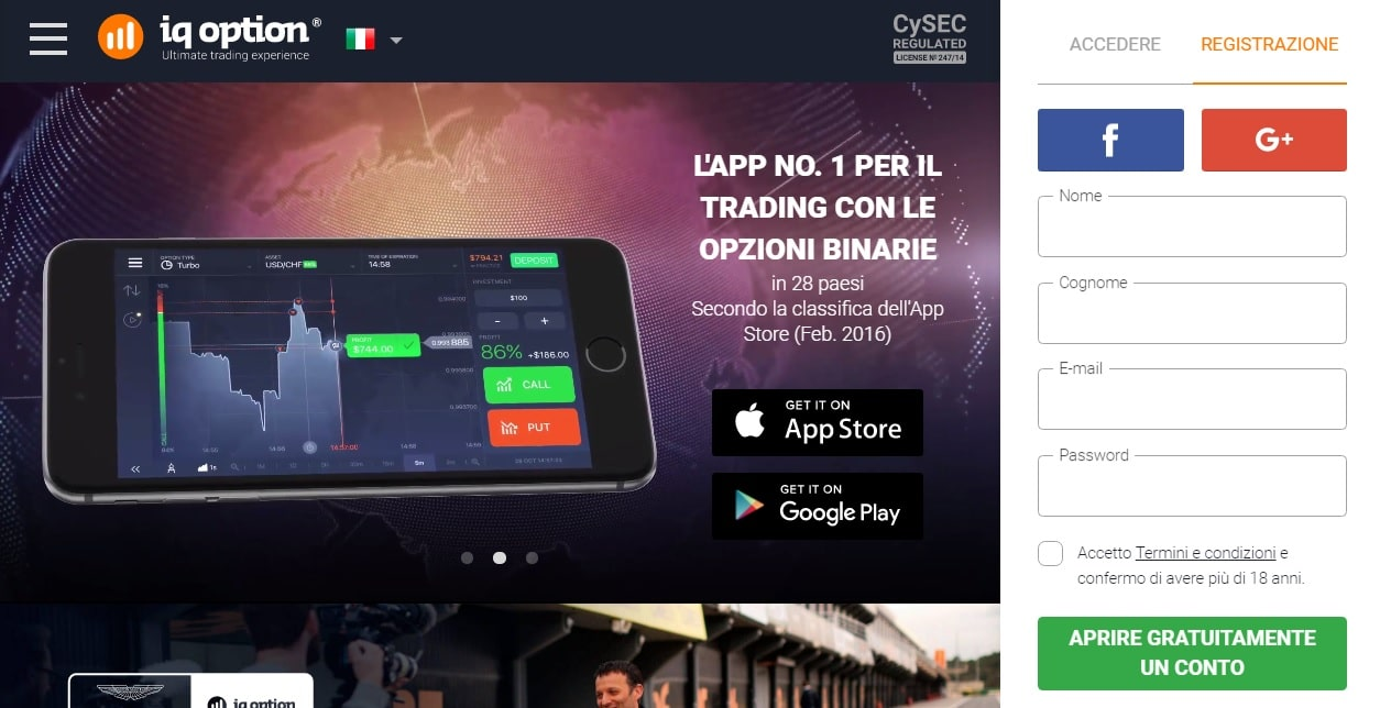 Pagina ufficiale IQ Option