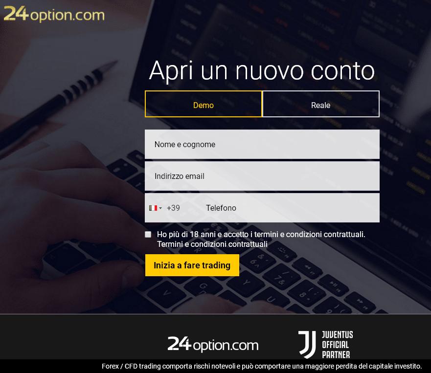 Modulo di registrazione 24option demo