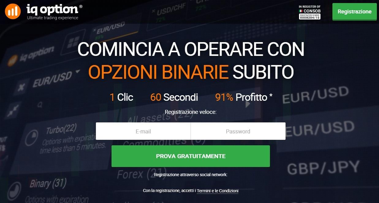 Iscrizione su IQ Option