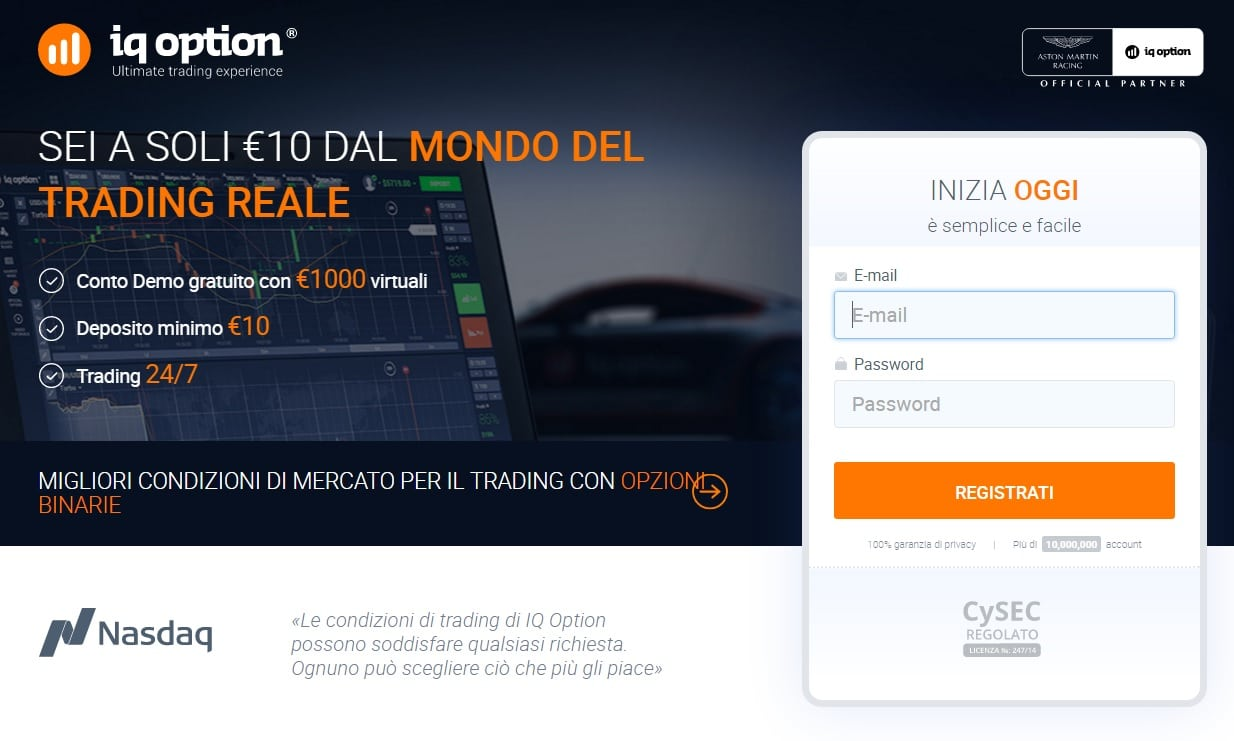 Registrazione sul broker IQ Option