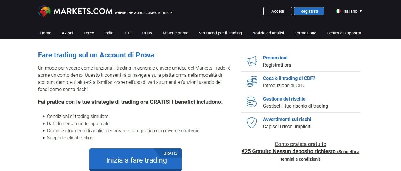 conto demo markets.com