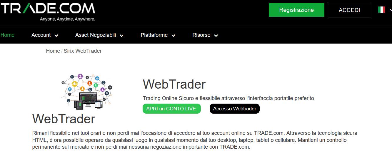 piattaforma Sirix Webtrader