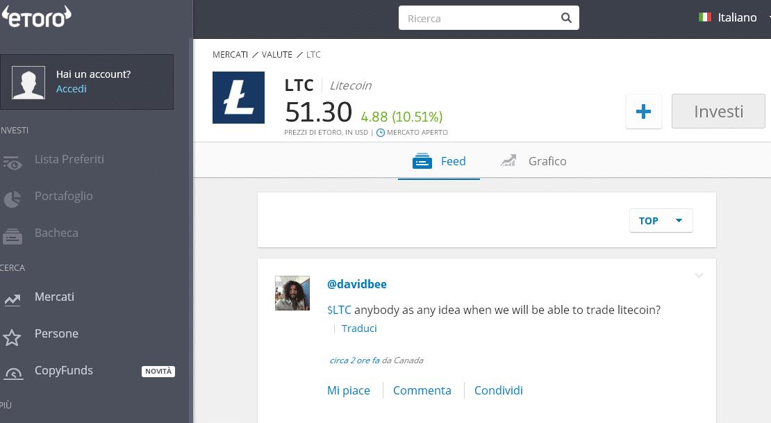 trading litecoin su etoro
