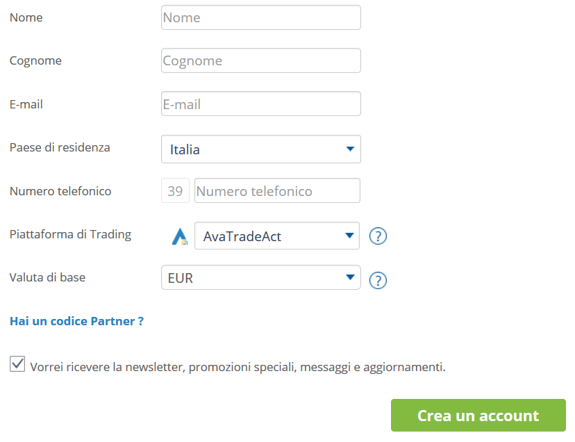 registrazione conto