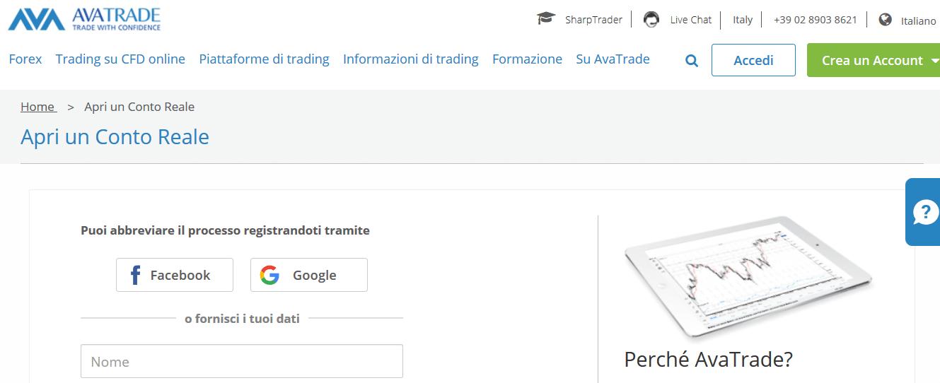 Avatrade registrazione