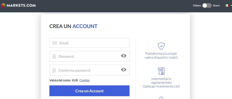registrazione Markets.com