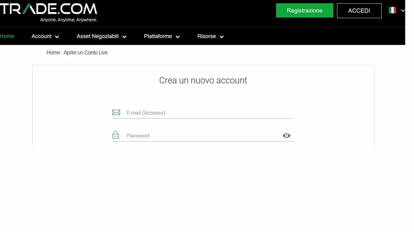 registrazione trade.com