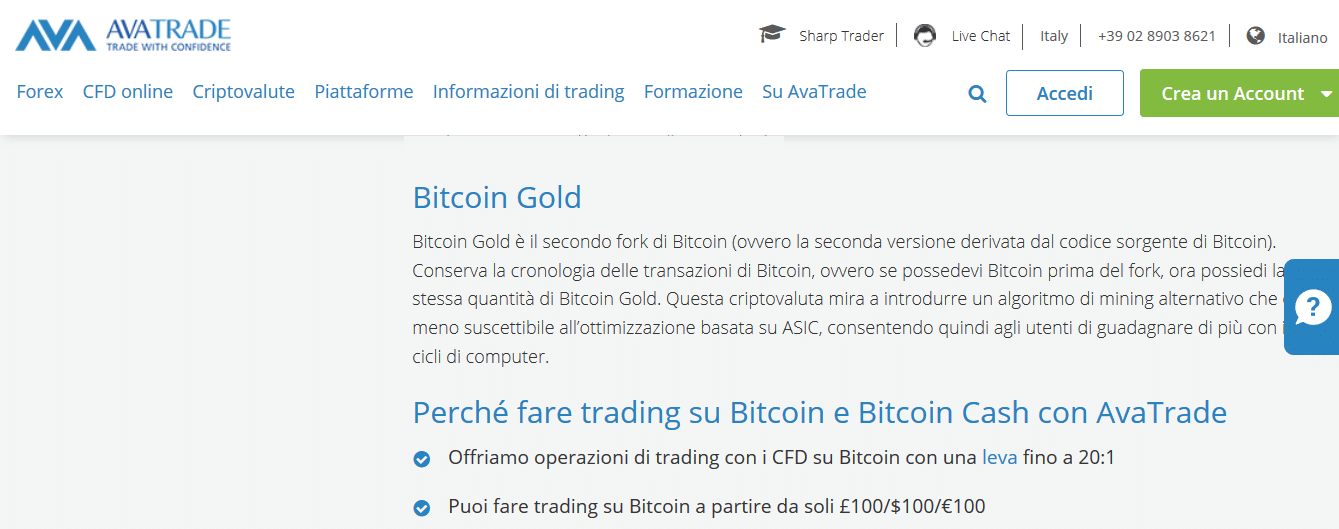 bitcoin gold avatrade