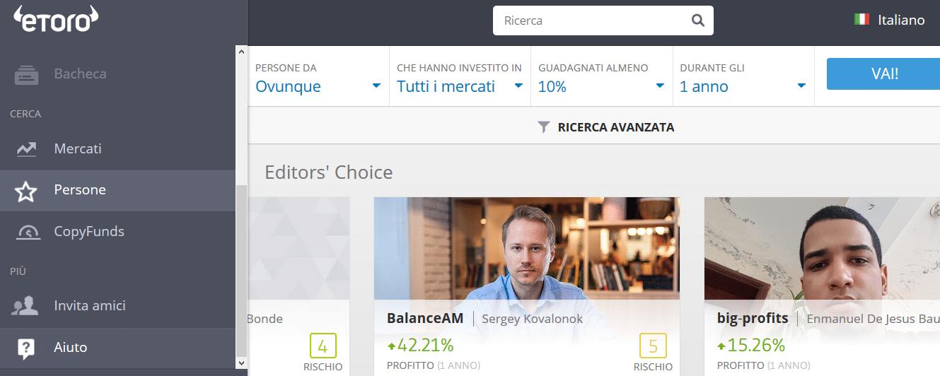 ricerca utenti