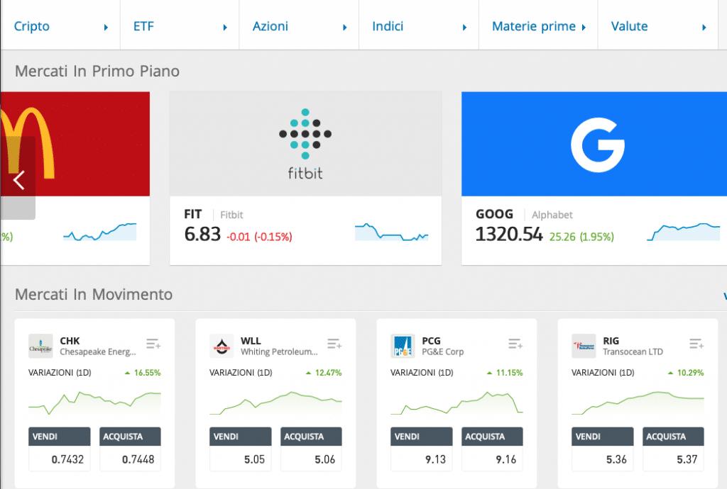 I mercati che offre eToro