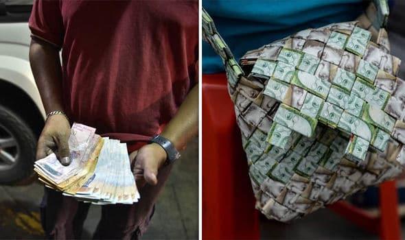 borsa fatta di bolivar venezuelani