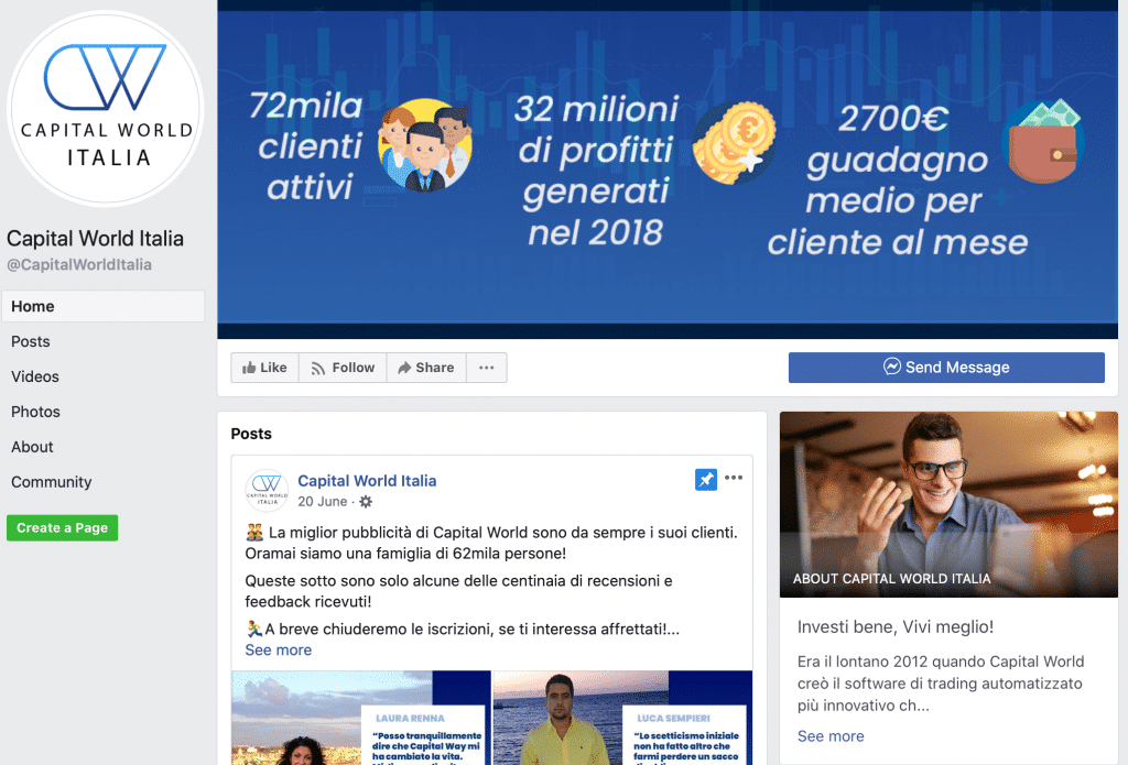 Truffa Capital World Italia: oggi si chiama Rendita Facile