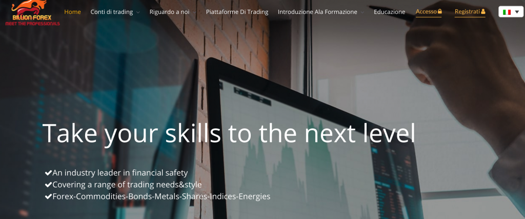 La home page del broker Billion Forex
