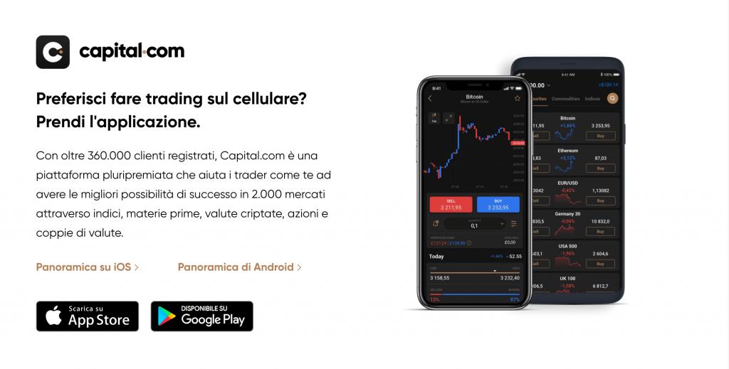 Ottime anche le App per investire con Capital.com