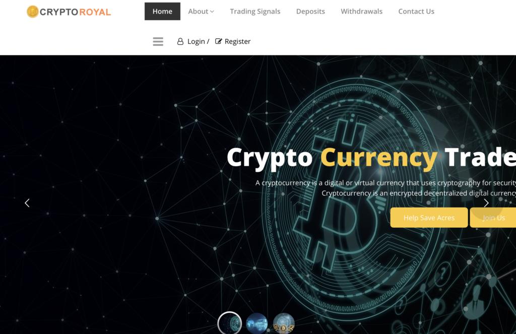 Il sito truffa di CryptoRoyal.io