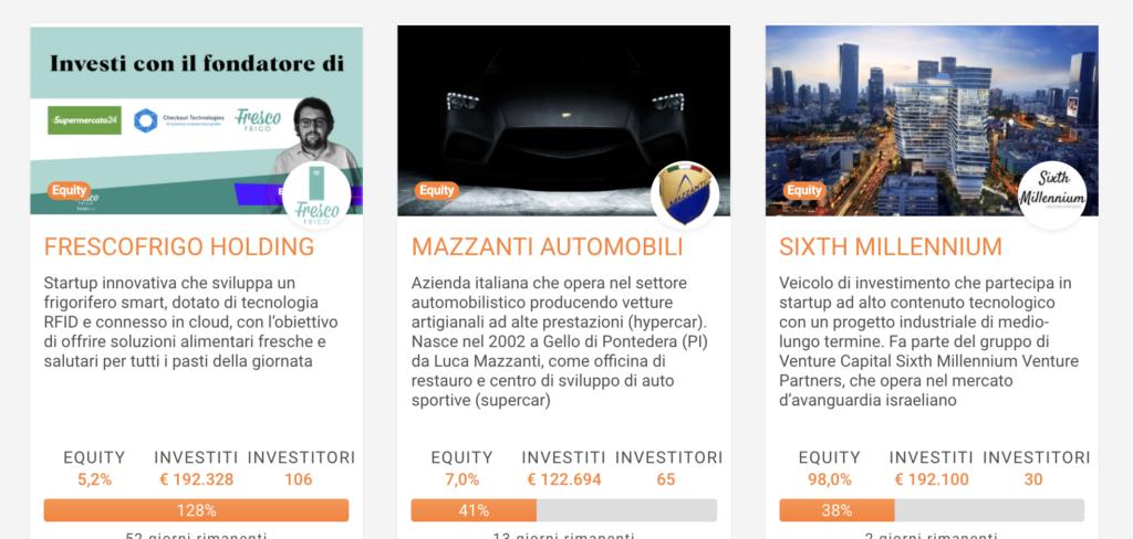 La schermata tipica di progetti ai quali puoi partecipare in Crowdfunding