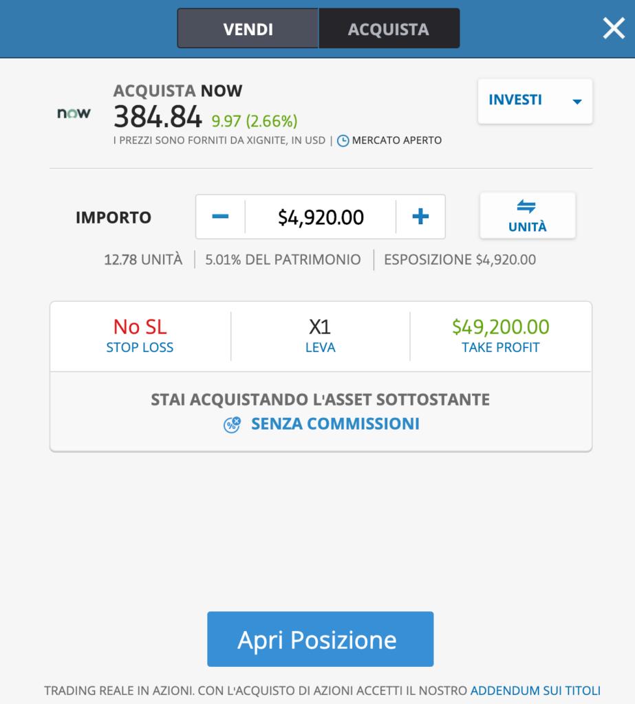 Oggi puoi investire sulle azioni ServiceNow a costo zero