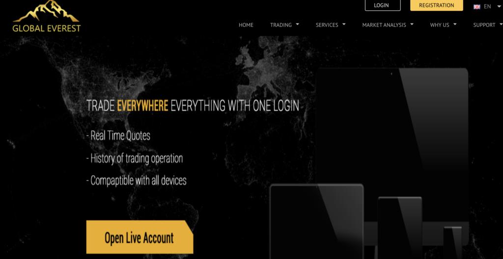 Anche il sito internet di GlobalEverestFX non promette bene