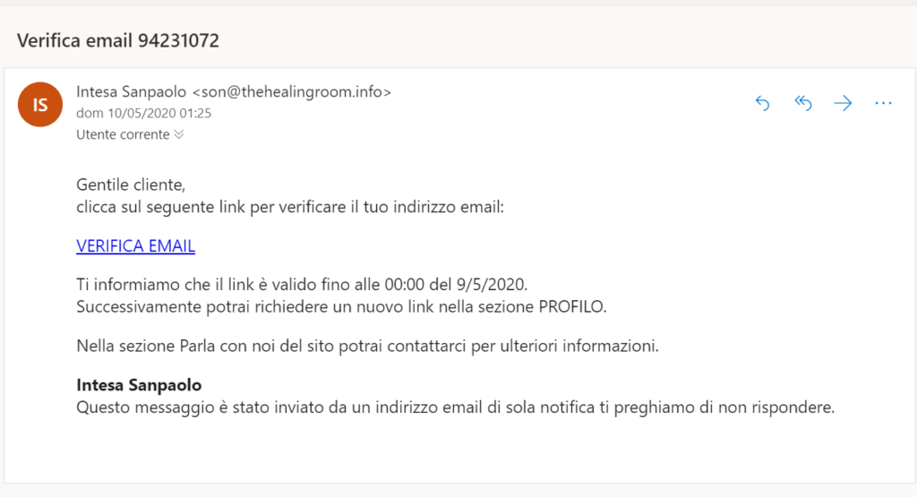 furto di identità email intesa