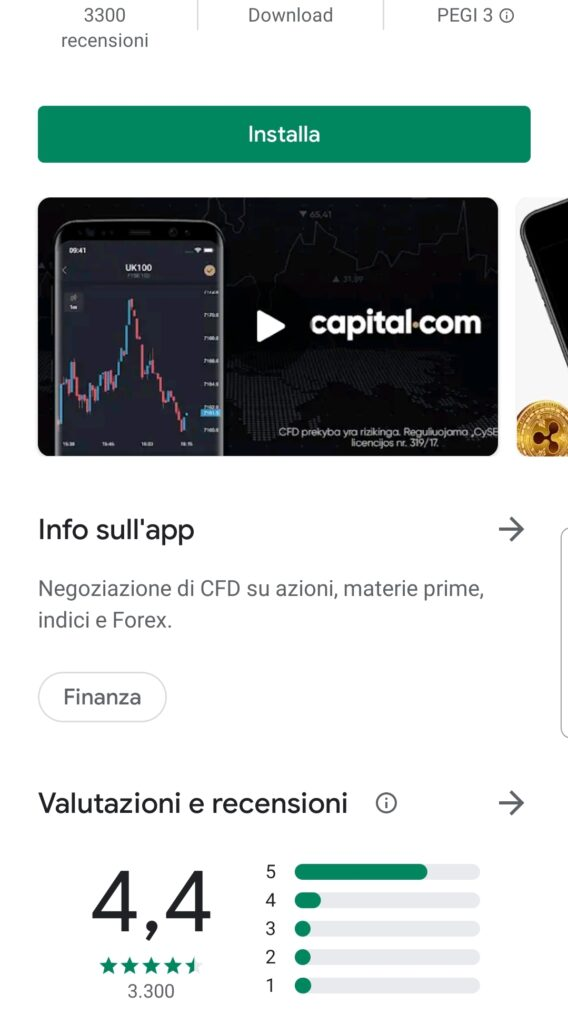 Piattaforma mobile Capital.com