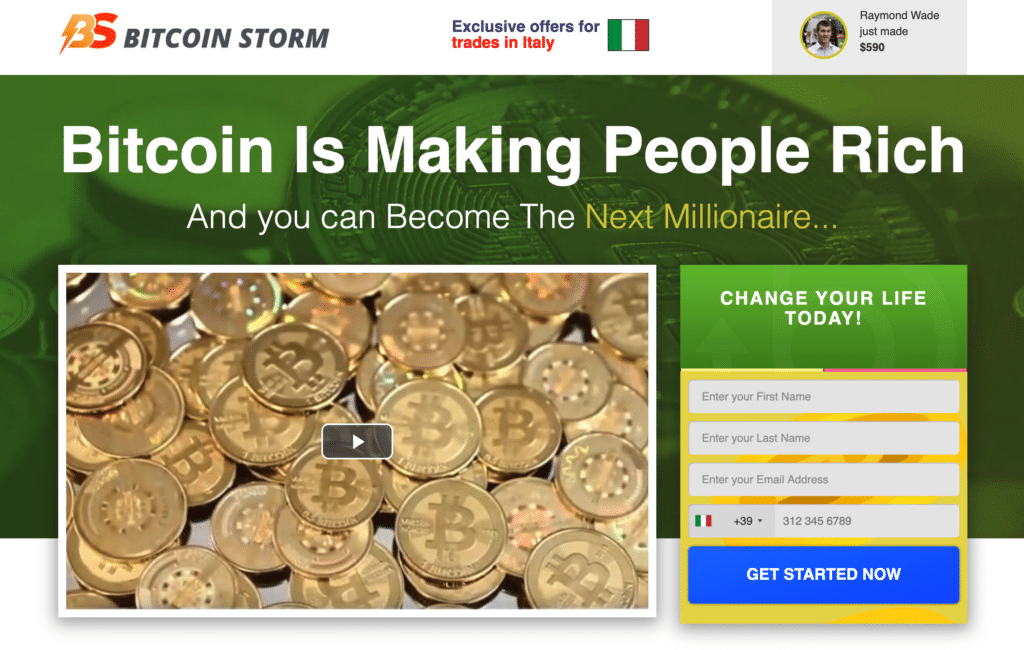 Sito ufficiale di Bitcoin Storm