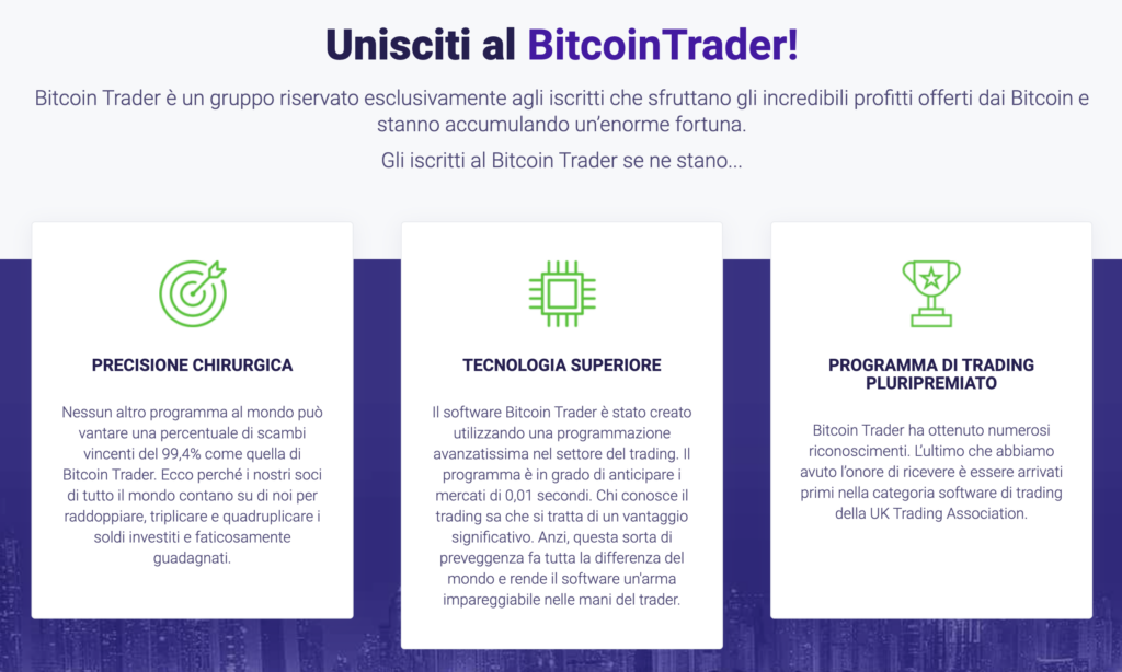 Bitcoin Trader false promesse