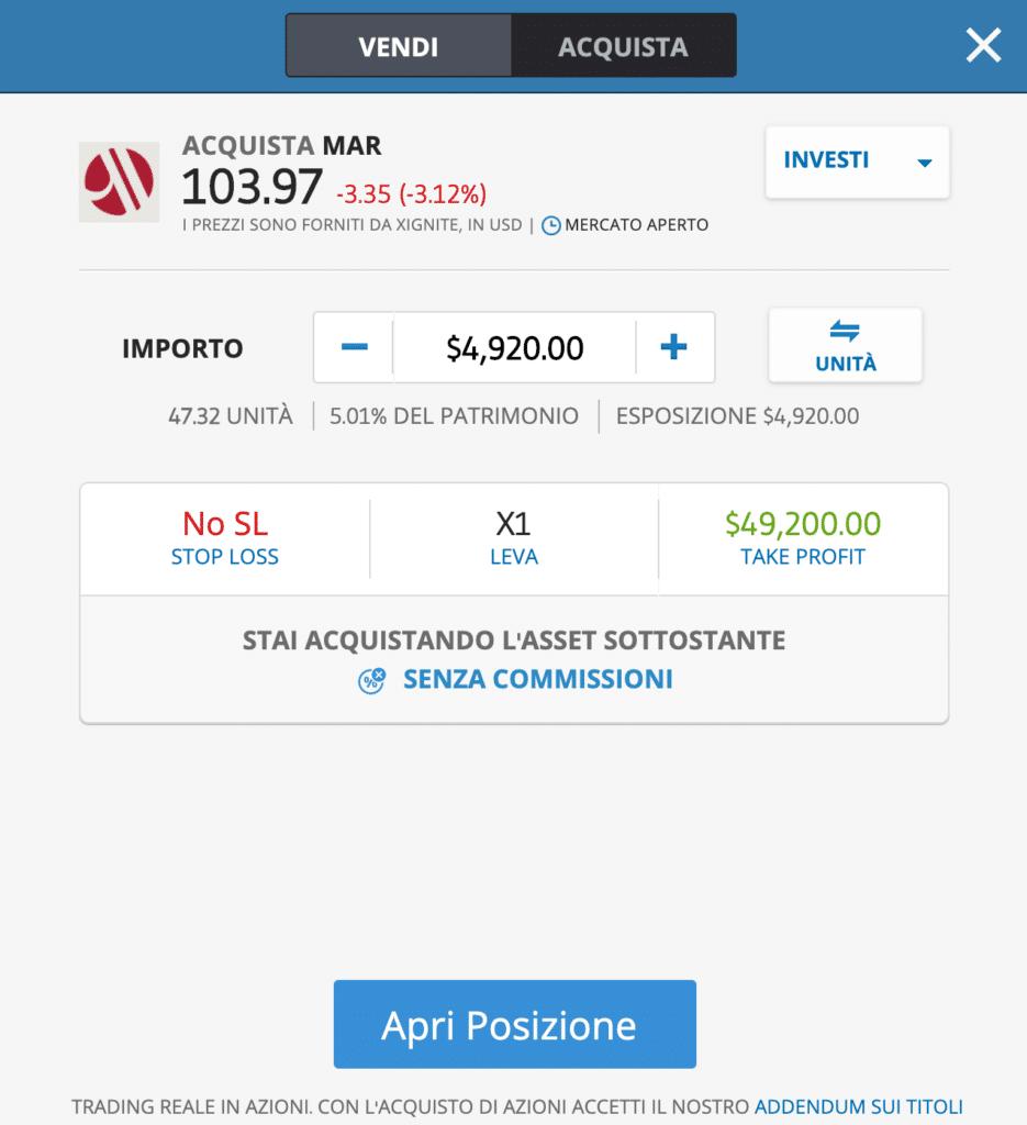 airbnb azioni valore)