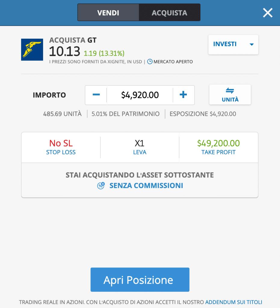 La schermata per comprare azioni Goodyear