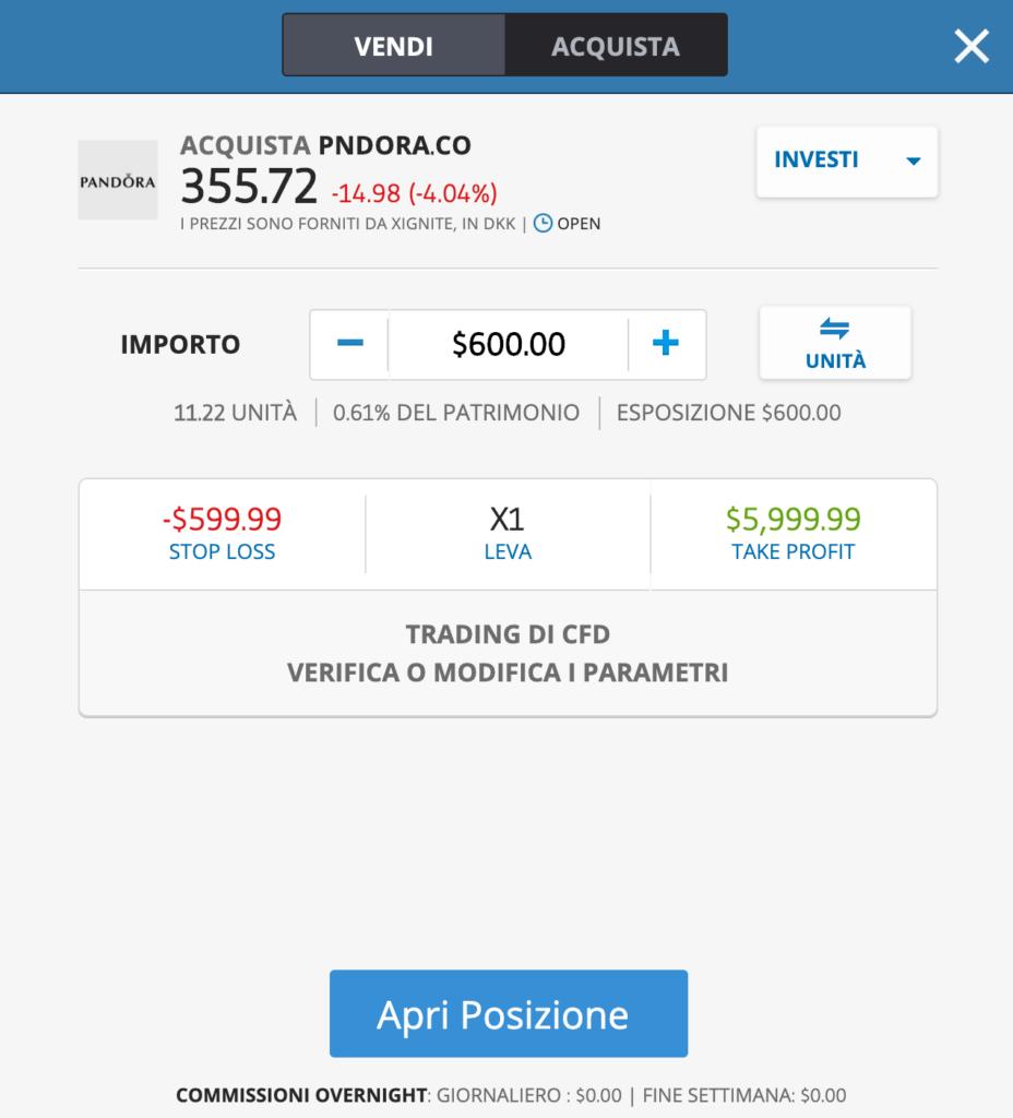 Azioni Pandora: la schermata per comprarle