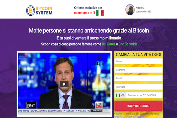 Bitcoin System Sito Web - ma è una truffa o funziona realmente ? analisi, opinioni e recensioni