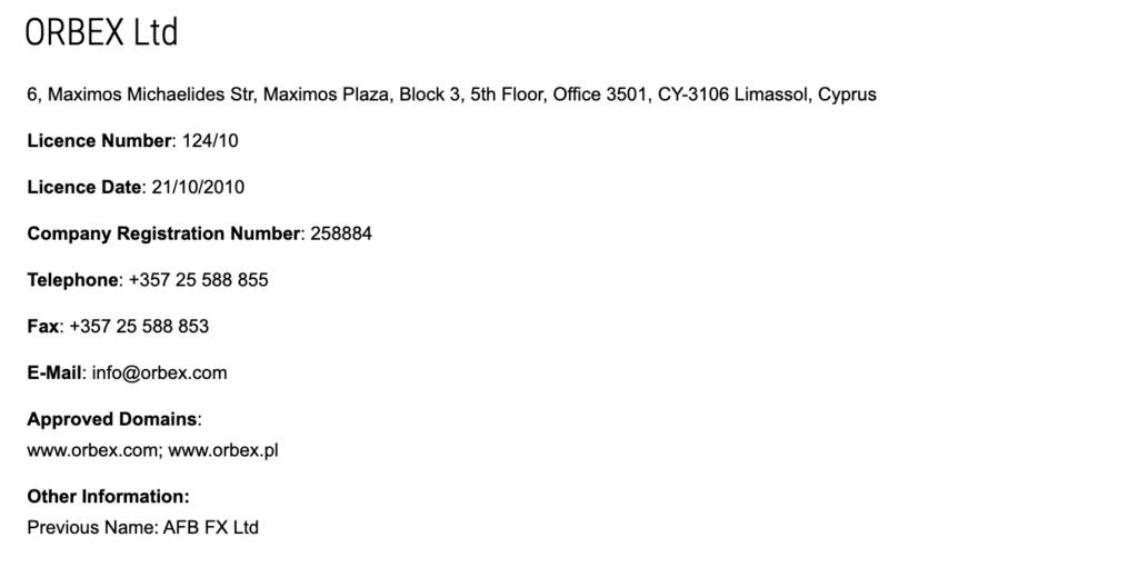 Licenza CySEC Orbex