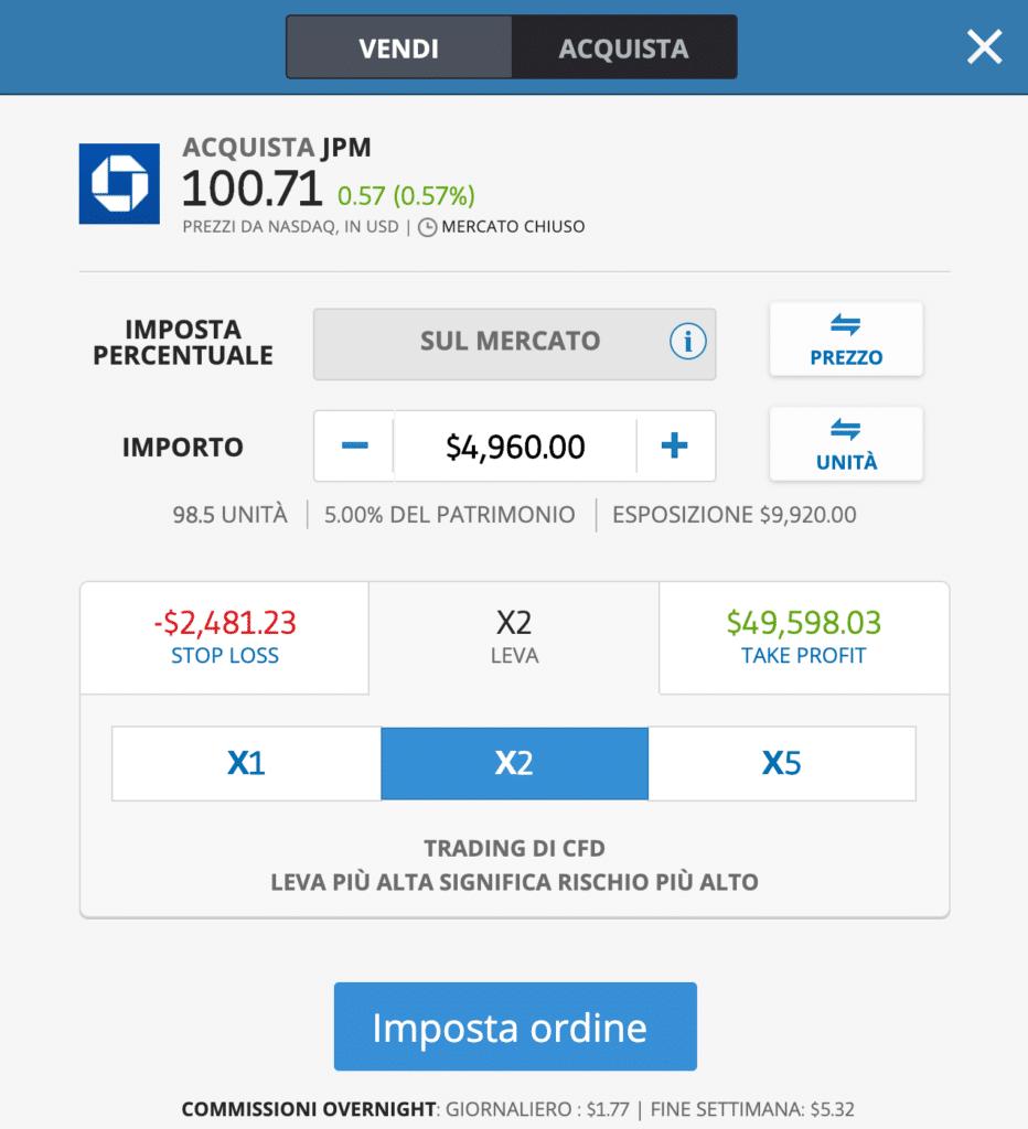 JP Morgan azioni comprare in CFD