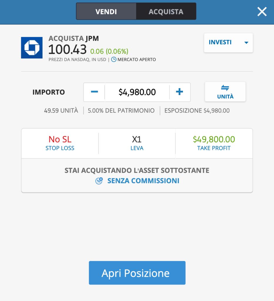 Schermata eToro per acquistare azioni in DMA di JP MORGAN