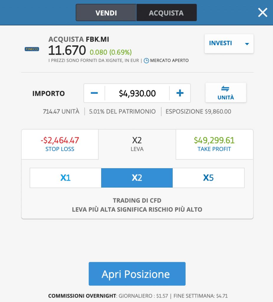 FinecoBank comprare azioni in CFD schermata