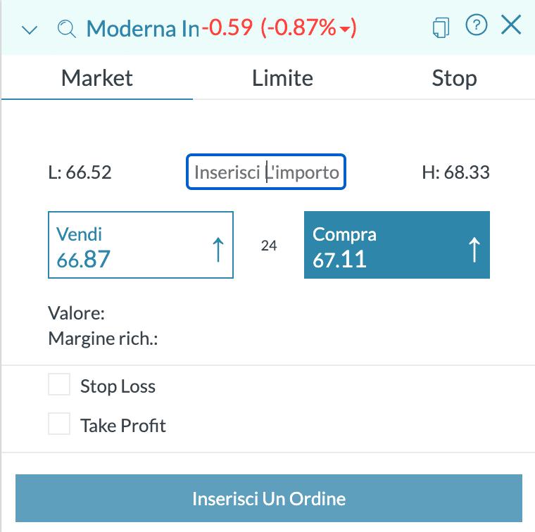 Trade.com schermata di ordine
