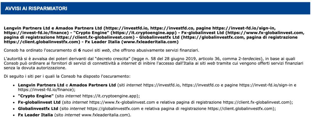 Consob Segnalazione Crypto Engine