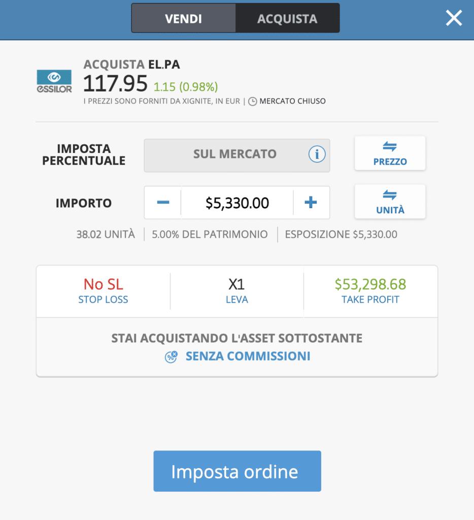 eToro acquisto DMA azioni Essilor