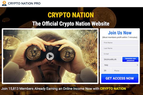 Sito internet ufficiale di Crypto nation