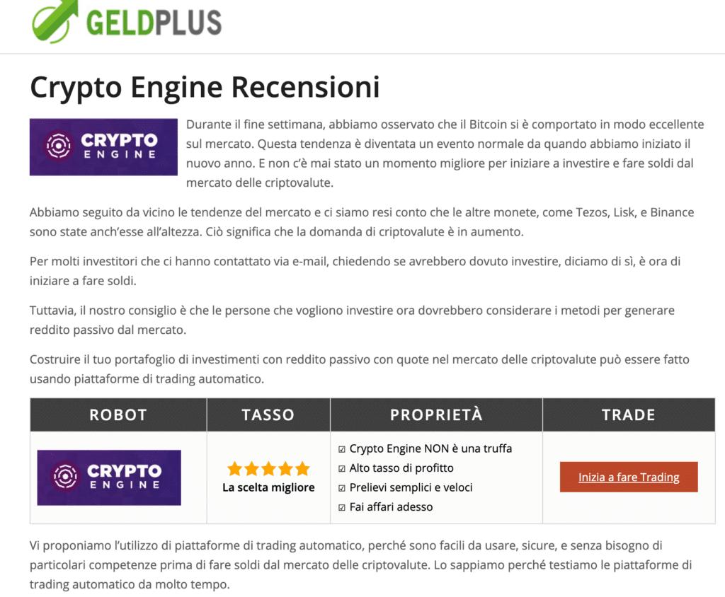 Sito truffa CryptoEngine recensione falsa