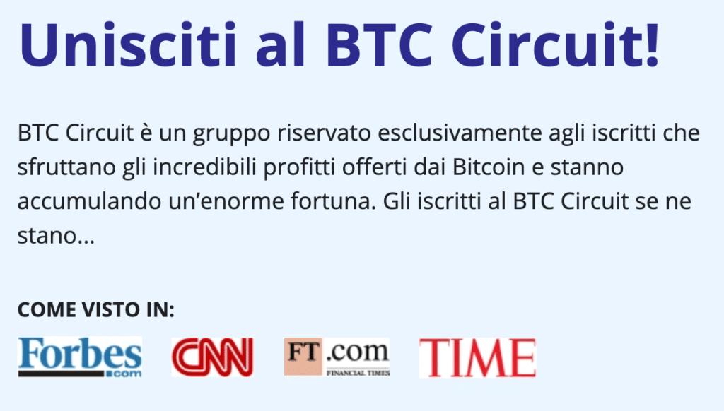 Recensioni false su giornali di Bitcoin Circuit