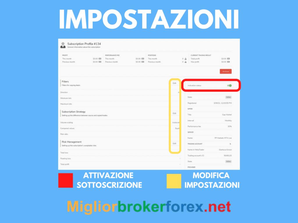 Impostazioni della copia trading su FP Markets